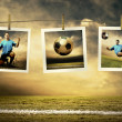 Photocards of football players on the outdoor field — Stock Photo
