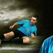Portrait of Soccer player on the field in night rain — Stock Photo #6359758