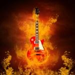 Rock guita in flames of fire — Stock Photo