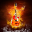 Rock guita in flames of fire - Zdjęcie stockowe
