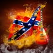 Rock flag around fire flames — Stock Photo