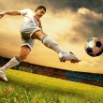 Happiness football player on field of olimpic stadium on sunrise — Stock Photo #6359903