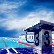 Open sport waterpool with sky - Stock Photo