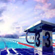 Stock Photo: Open sport waterpool with sky