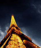 PARIS - JUNE 22 : Illuminated Eiffel tower at night sky June 22, — Photo