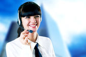 Hapiness Businesswoman standing on the business background — Zdjęcie stockowe