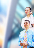 Happiness businessmans on the business architecture background — Foto Stock
