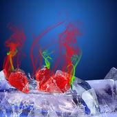 Owoce na lód i niebieskim tle — Zdjęcie stockowe