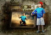 サッカー プレーヤー、グランジ背景の抽象的なイメージ — ストック写真