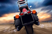 Motorcycle outdoor on speed — Stock Photo