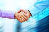 Schudden handen van twee business — Stockfoto