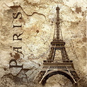 Vintage view of Paris on the grunge background — Stock Photo