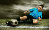 Soccer players on the field — Stock fotografie
