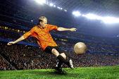 场体育场的足球运动员 — 图库照片