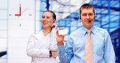 Happy businessman and a woman — Stock Photo