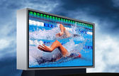 Swimming waterpool on the electronic monitor — Stock Photo