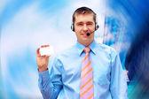 Geluk zakenman op de achtergrond van het platform business — Stockfoto