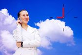 Happiness businesswomanwith phone — Stock Photo