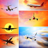 Collage of photos by airplanes at fly on the sky with clouds — Stock Photo