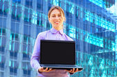 Happiness business woman with phone on business background — Foto Stock