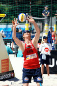 PRAGUE - JUNE 18: Brink & Reckermann team compete at SWATCH FIVB — Стоковое фото
