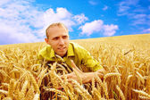 Happy man on the golden wheat field and blue sky — Stock Photo
