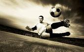 Happiness football player on field of olimpic stadium on sunrise — Stock Photo