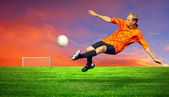 Football player on the outdoors field — Stock Photo