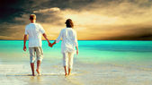 Vue arrière d'un couple marchant sur la plage, main dans la main. — Photo