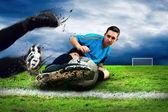 Giocatori di calcio sul campo — Foto Stock