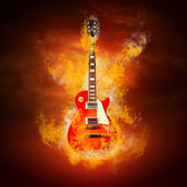 Rock guita in flames of fire — Stock Photo