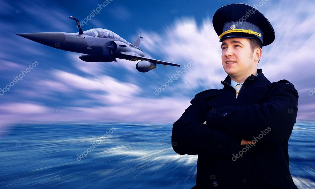 Pilot and military airplan on the speed — Stock Photo #6353385