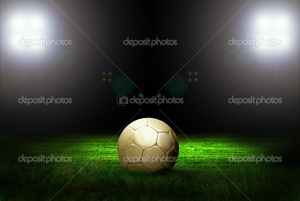 Soccer ball on the field of stadium with light  Stock Photo #6353623
