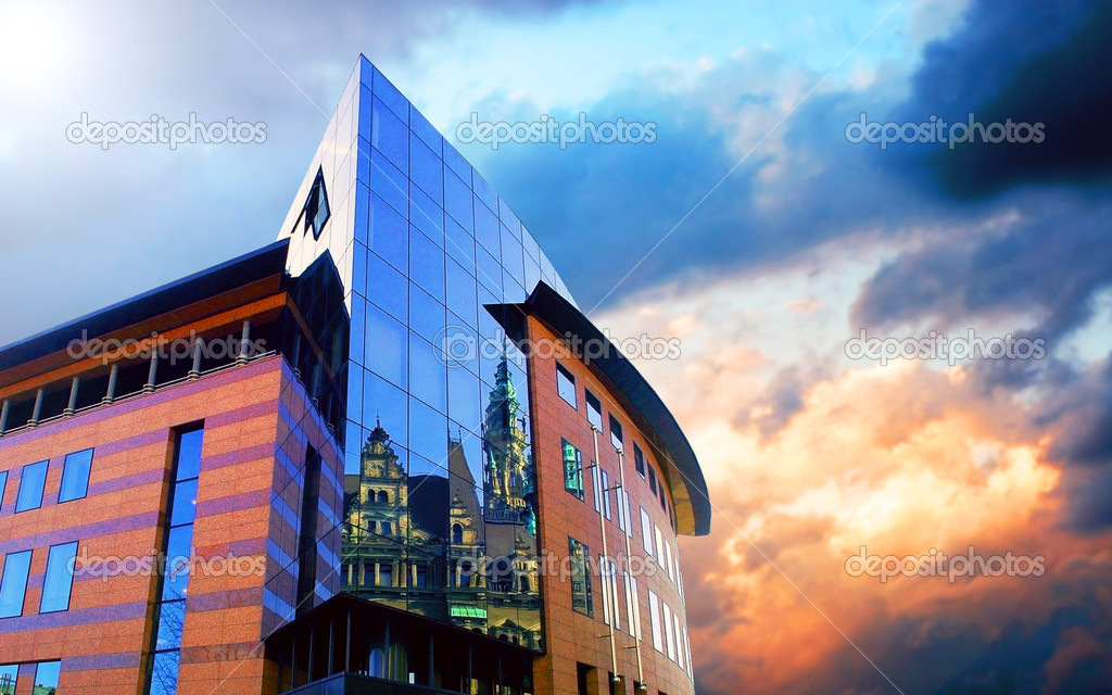 Business buildings architecture on sky background — Stock Photo #6354495