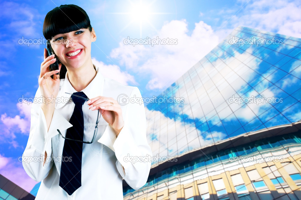 Hapiness Businesswoman standing on the business background — Stock Photo #6354505