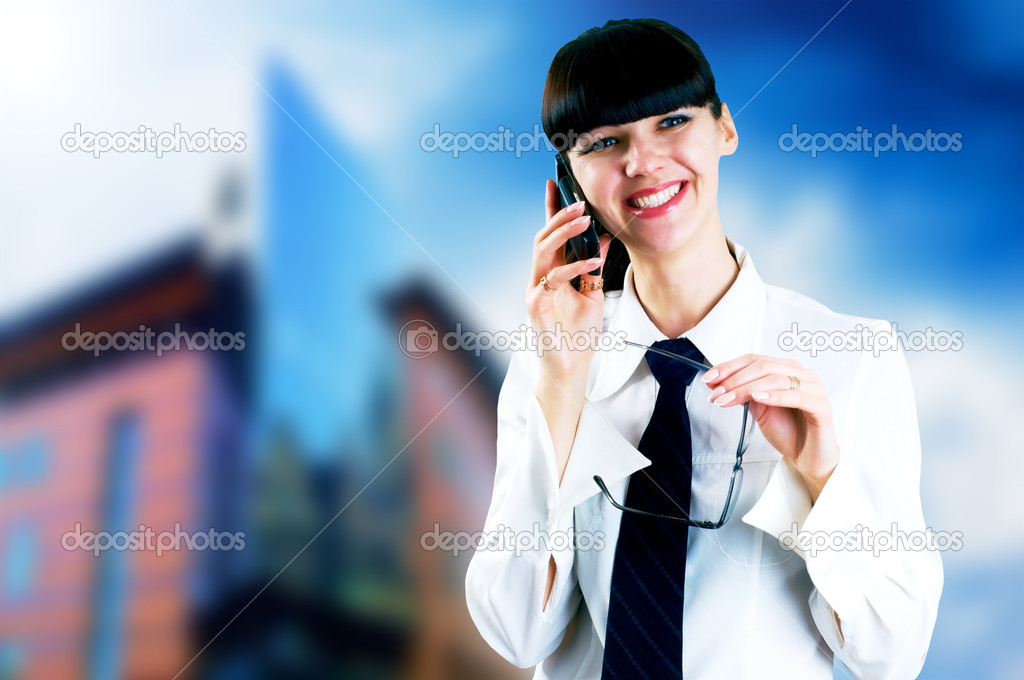 Hapiness Businesswoman standing on the business background — Stock Photo #6354509