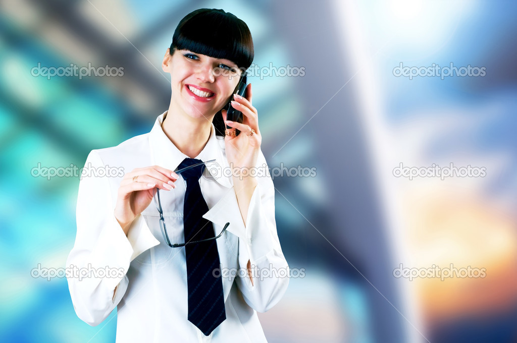 Hapiness Businesswoman standing on the business background — Stock Photo #6354511