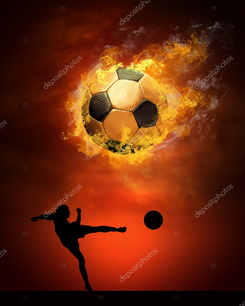 Hot soccer ball on the speed in fires flame — Stock Photo #6354730