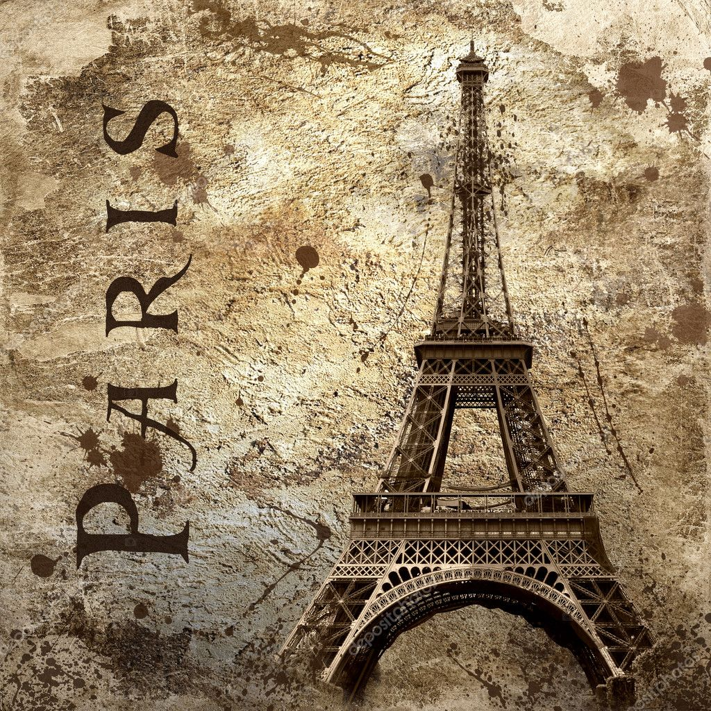 Vintage View Of Paris On The Grunge Background Stock