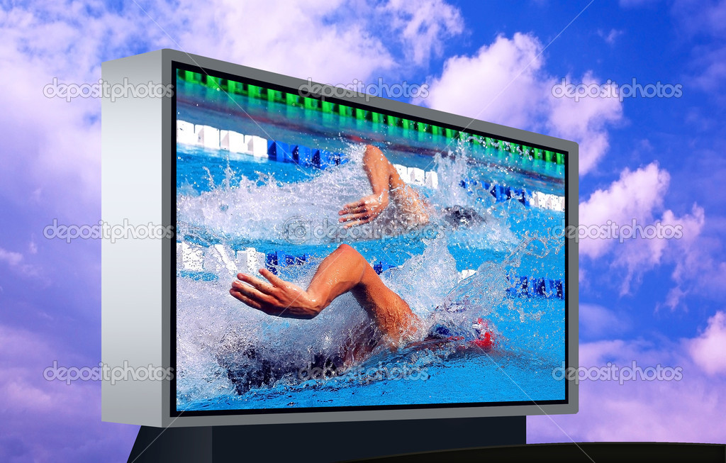 Swimming waterpool on the electronic monitor  Stock Photo #6356963
