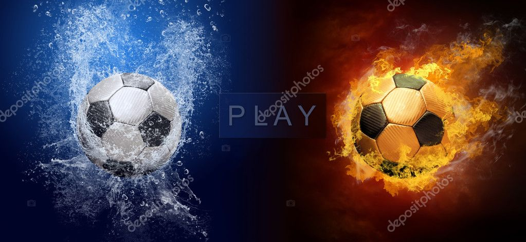 Water drops and fire flames around soccer ball on the background — Stock Photo #6357807