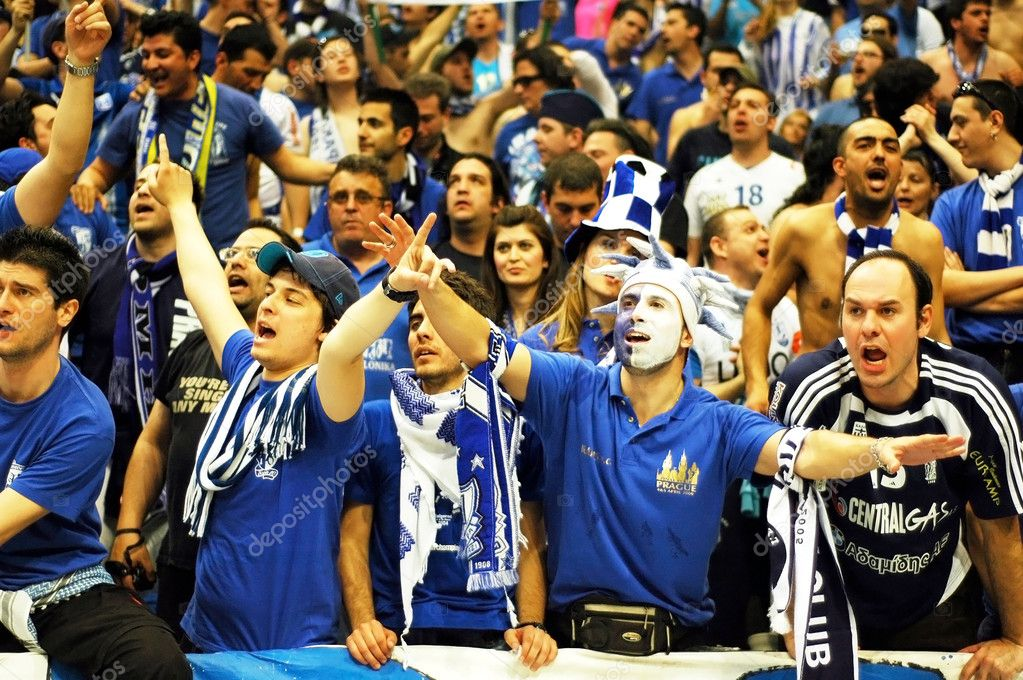PRAGUE, CZECH REPUBLIC - APRIL 5: Iraklis team supporters watch the volleyball game of Final Four CEV Indesit Champions League at O2 Arena in Prague. April 5, 2  Stock Photo #6358760