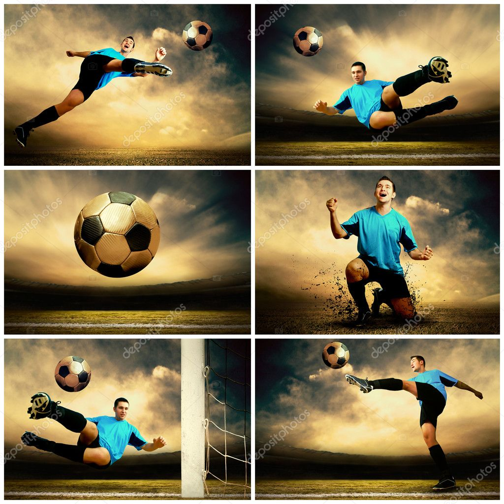 Collage of football images on the outdoor field  Stock Photo #6359130