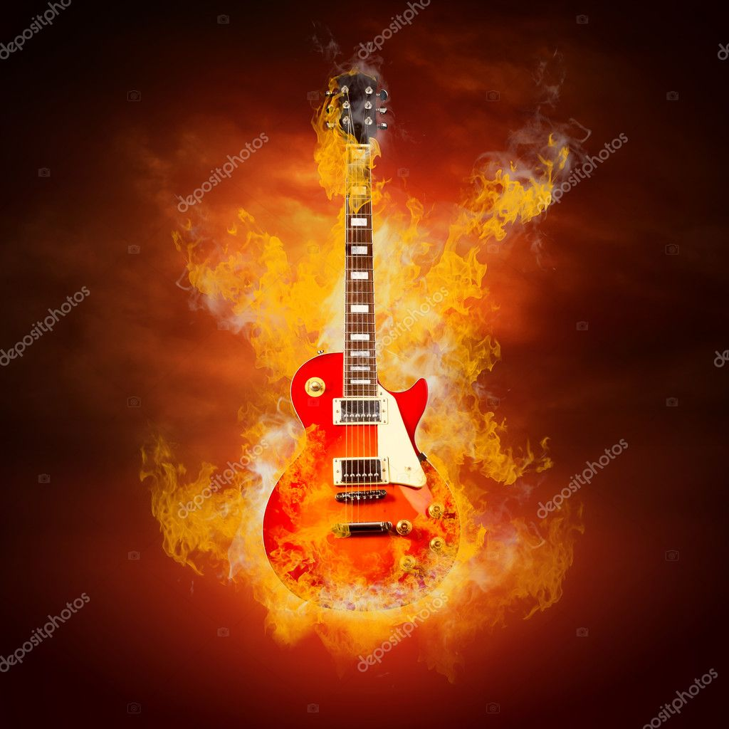 Rock guita in flames of fire — Stock Photo #6359824