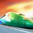 Stock Photo: High-speed train with motion blur outdoor