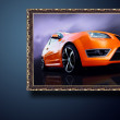 Beautiful  sport car on road in classic frame - Stock Photo