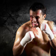 Aggressive boxer with blood on the face — Stock Photo #6370114