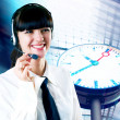 Hapiness Businesswoman standing on the business background — Stock Photo #6370144