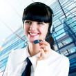 Hapiness Businesswoman standing on the business background — Stock Photo #6370152