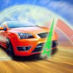 Beautiful orange sport car on road — Stock Photo #6370203